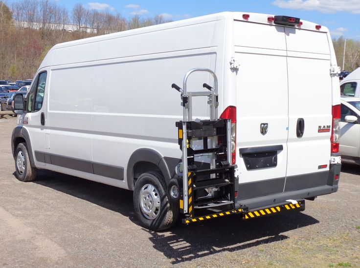 HTS Systems' HTS-20SDP hand truck carrier rack installed on Dodge ProMaster parcel delivery van. B&P Liberator junior hand truck locked aboard unit.
