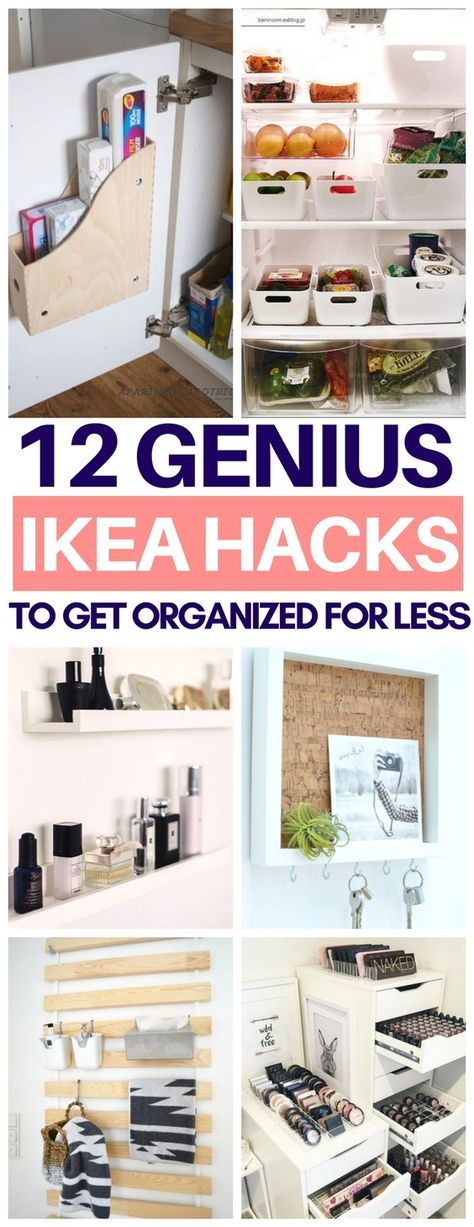 So glad I read this list of organization Ikea hacks before going there today! Cheap & easy tips to use Ikea items to get organized like Ribba frames, storage containers and more! #ikeahacks #organization