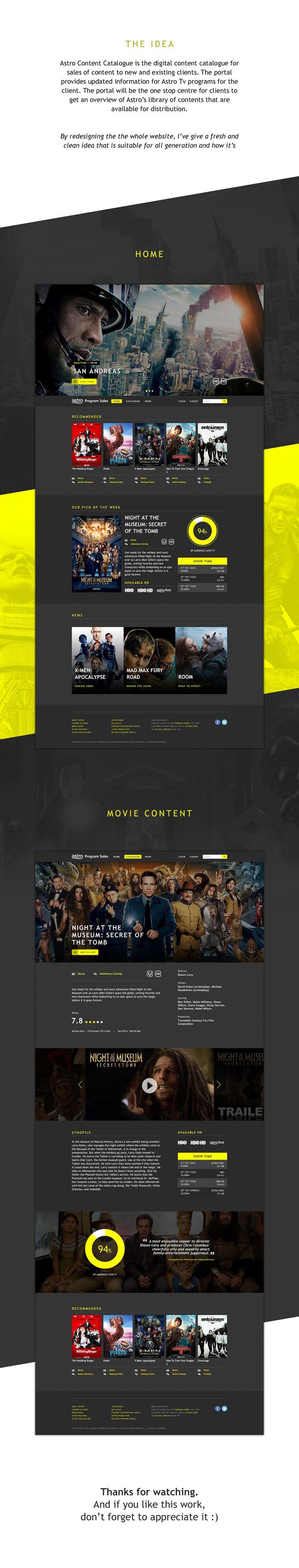Astro Movie Content Sales Redesign on Behance