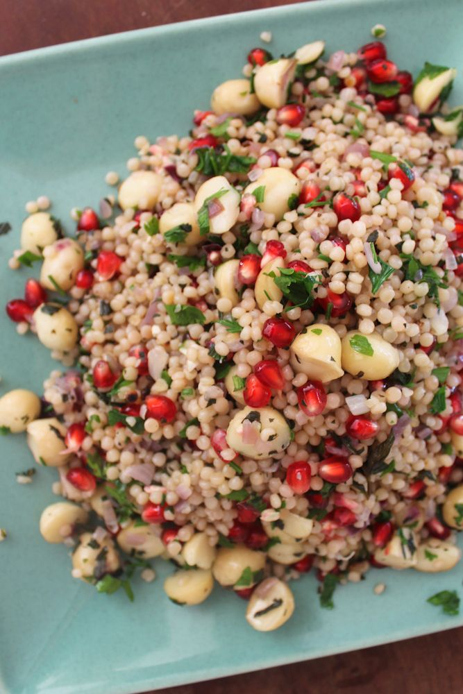 israeli cous cous with macadamias