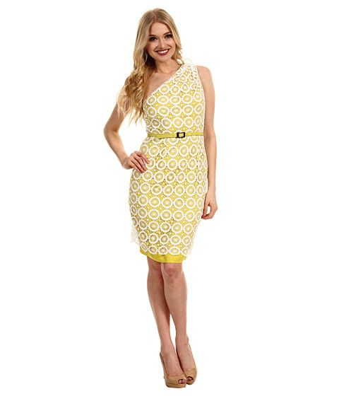One sleeve lace dress yellow