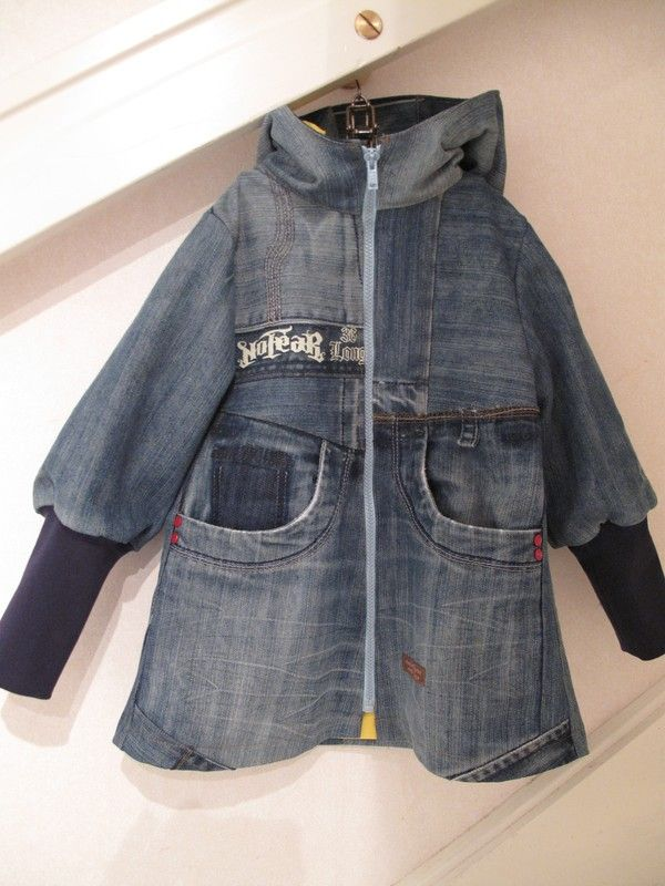 Girls coat made from ONE pair of adult jeans, almost no scaps left. Love the idea and I love the coat!
