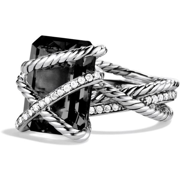 David Yurman Cable Wrap Ring with Black Onyx and Diamonds found on Polyvore