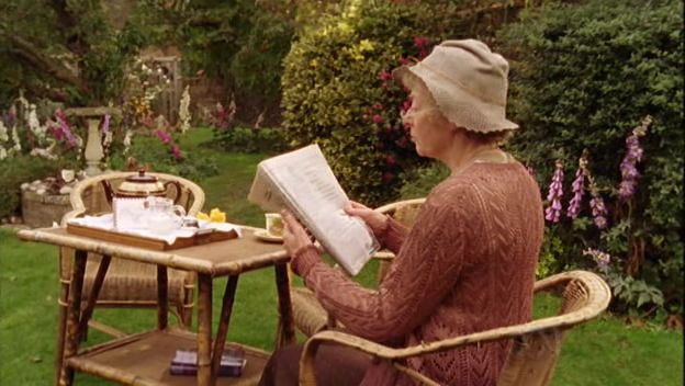 Tea-time in the garden with Miss Marple ~ brilliantly portrayed by Geraldine McEwan (1932-2015, RIP)