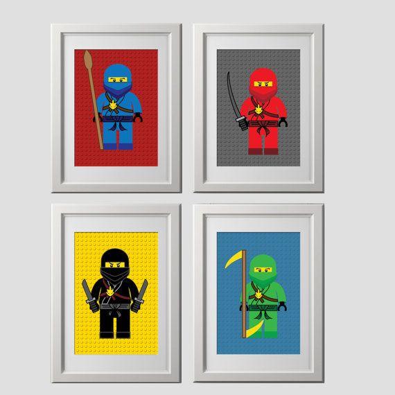 lego ninjago wall art prints, lego bedroom wall decor, high quality prints shipped to your door, set of 4