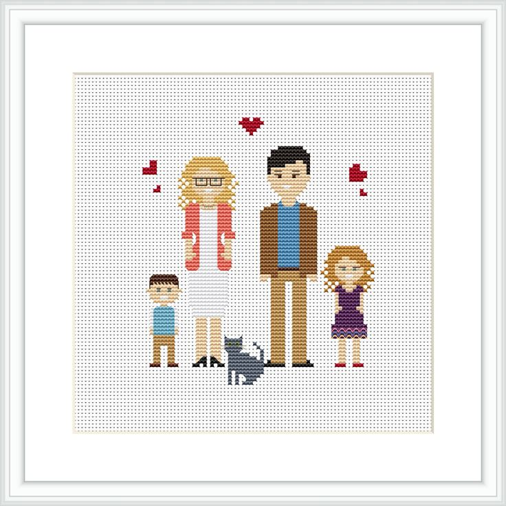 Personalized family 5 characters PDF Cross Stitch Pattern