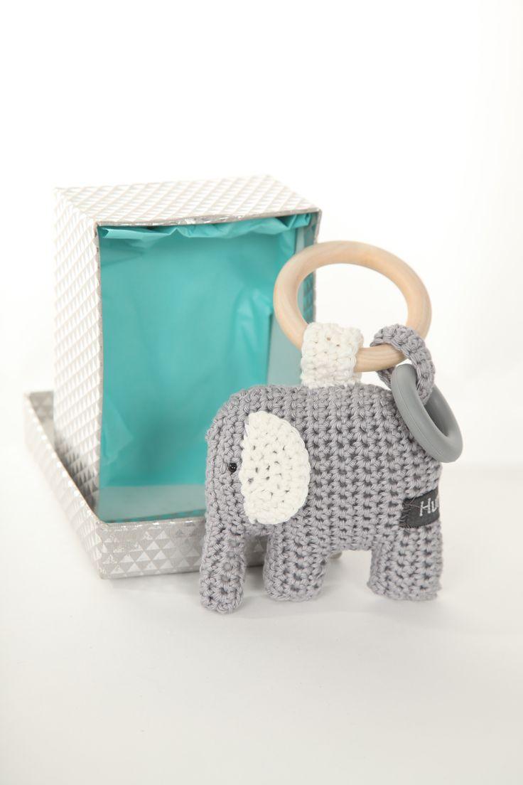 Rammelaar #gehaakte #bijtring #olifantje #katoen Kraamkado #kraamcadeau #baby #babykado #geboortekado #babykamer #babyshower op www.hummelkado.nl