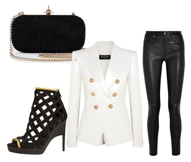 """Elegant and cool"" by sch-csilla on Polyvore featuring Burberry, Balmain, Helmut Lang, Clutch, Leather, Elegant and edgy"