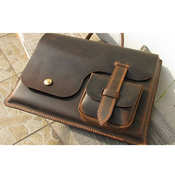 MacBook Air 13inch Leather Laptop bag sleeve by FocusmanLeather