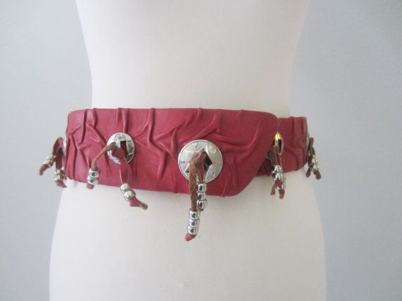 80s Unique Red Western Charm Waist Belt by Janell Originals, 78 cm, W30 in // Texas Cowgirl Funky Wide Dress Belt w/ Velcro Closure