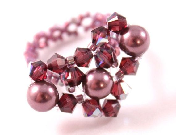 Heart ring Swarovski burgundy pearl and by CrystalHandmade on Etsy, $26.00
