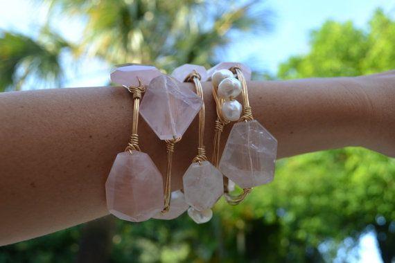 Pink Rose Quartz Geode Stone Gold Wire Wrapped Bangle Bracelet