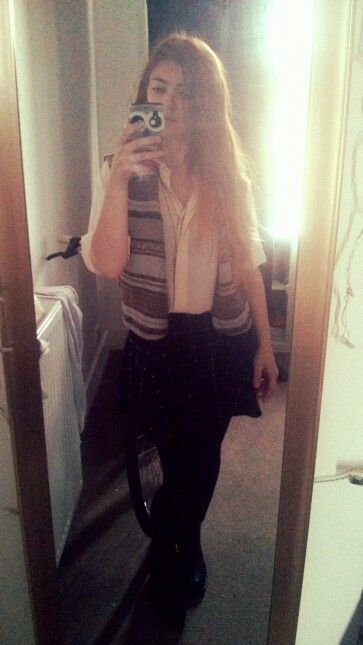 My style #waistcoat #tartanskirt #shirt #white #today's #outfit