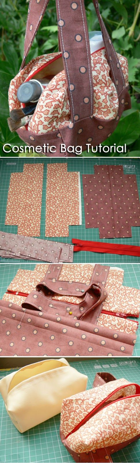 Cosmetic bag sewing pattern, makeup bag pattern. DIY Tutorial - Сумочка на молнии http://www.handmadiya.com/2015/09/handbag-zipper-cosmetic-bag.html