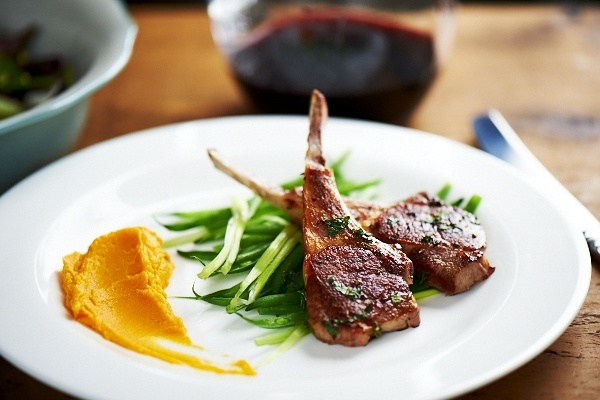 British Lamb chops with Summer greens and sweet potato puree www ...