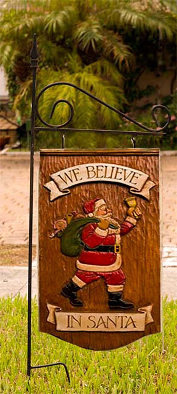 We Believe In Santa Christmas Hanging Yard Sign and Yard Stake by AlPisano on Etsy https://www.etsy.com/listing/466276155/we-believe-in-santa-christmas-hanging