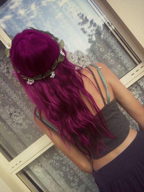 Pretty dark Magenta hair with a flower crown
