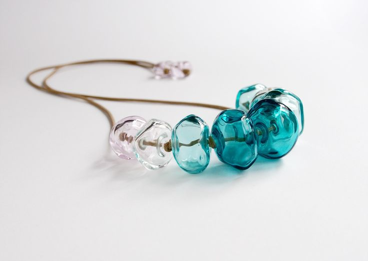 Avril Bowie - Aqua blue glass necklace - all hand crafted glass work
