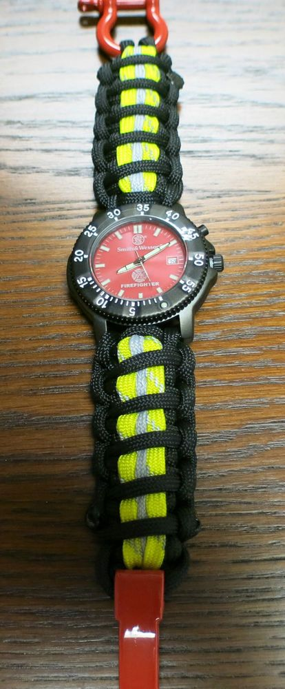FIREFIGHTER Smith & Wesson Watch w/ Refl. Bunker Turnout Gear Paracord 550 Band in Business & Industrial, Jewelry & Watches | eBay