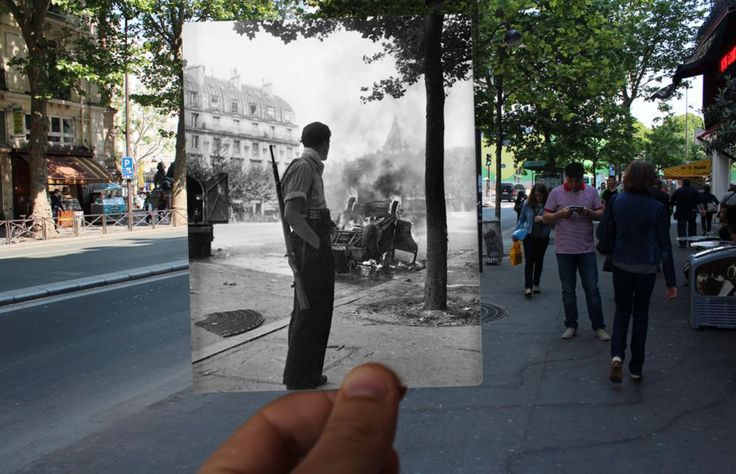 PARIS OVERLAYS - THEN AND NOW - A burning car in Place Saint-Michel in Paris in the 1940s.It is already one of the world's most iconic cities, but this incredible collection shows how much Paris has changed over the course of the past century. The collection, by French photographer Julien Knez, shows Paris in the 1940s against a backdrop of how the same places look today.