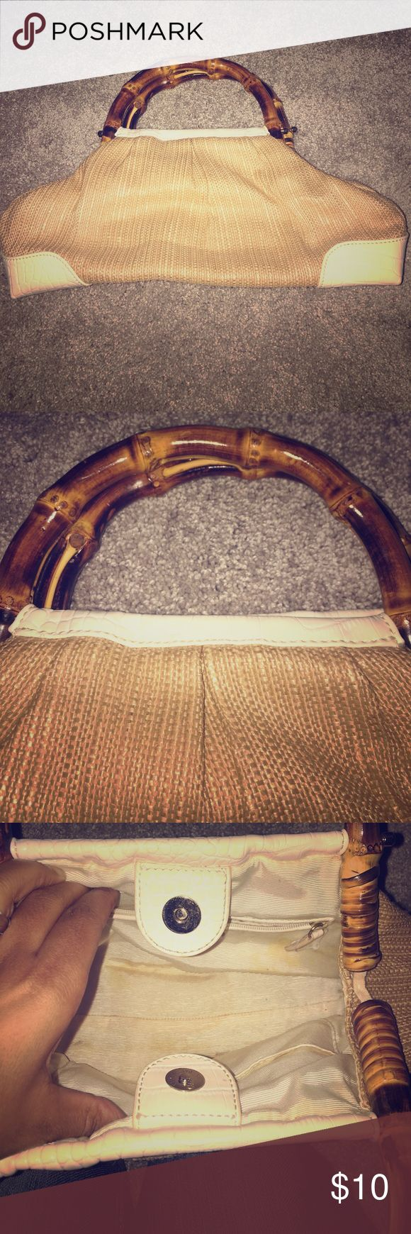 ANNE TAYLOR LOFT Bag🔸 Used anne taylor Loft bag. Has some stains on the inside. Outside no stains or rips. Bamboo handle. Very Cute for summertime or tropical vacation🌴used only a few times anne taylor loft Bags