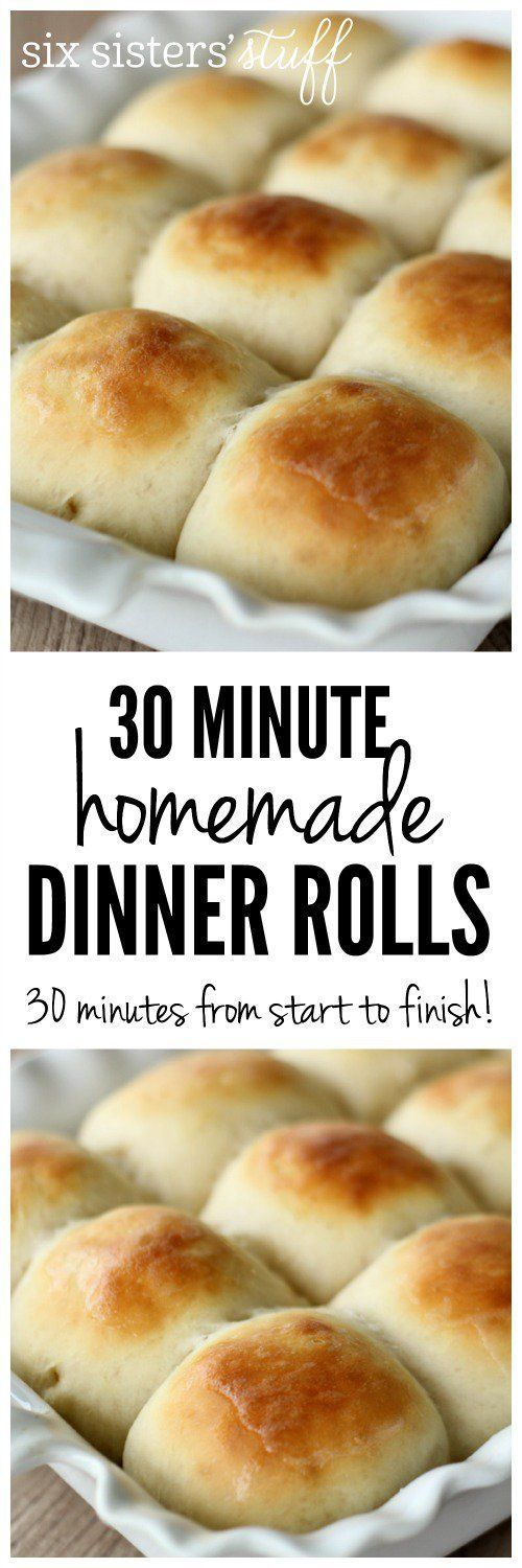 30 Minute Homemade Dinner Rolls on SixSistersStuff.com - it doesn't get any easier than this! Make these for a warm, homemade side dish for Thanksgiving or Christmas dinner! #thanksgivingrecipe #recipe