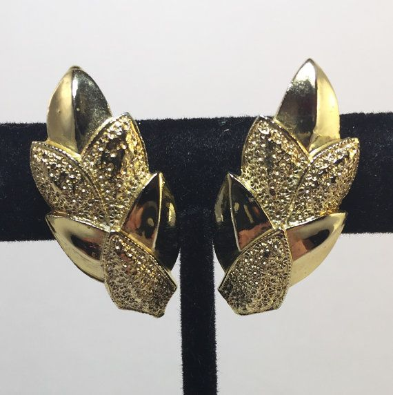 Vintage Coro Signed Brushed Gold Tone Clip On Earrings Textured Leaf Design 1970s