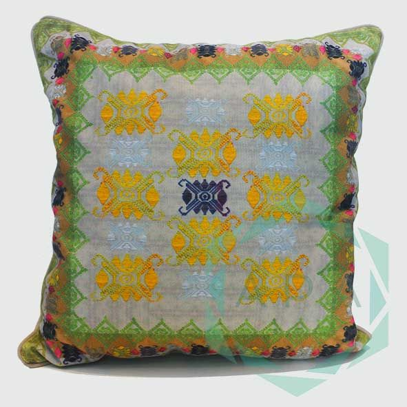 Inspired by the traditional handwoven songket fabric from Lombok.   Our songket cushion is digitally printed on polyester canvas making it durable for both indoor and outdoor use; withstand any weather condition, easily remove stains, easy to wash and colours will not fade away.  Songket1 cushion comes in 2 sizes:  45x45= Rp. 350,000 60x60= Rp. 450,000  For inquiries email us apaproductionhouse@gmail.com