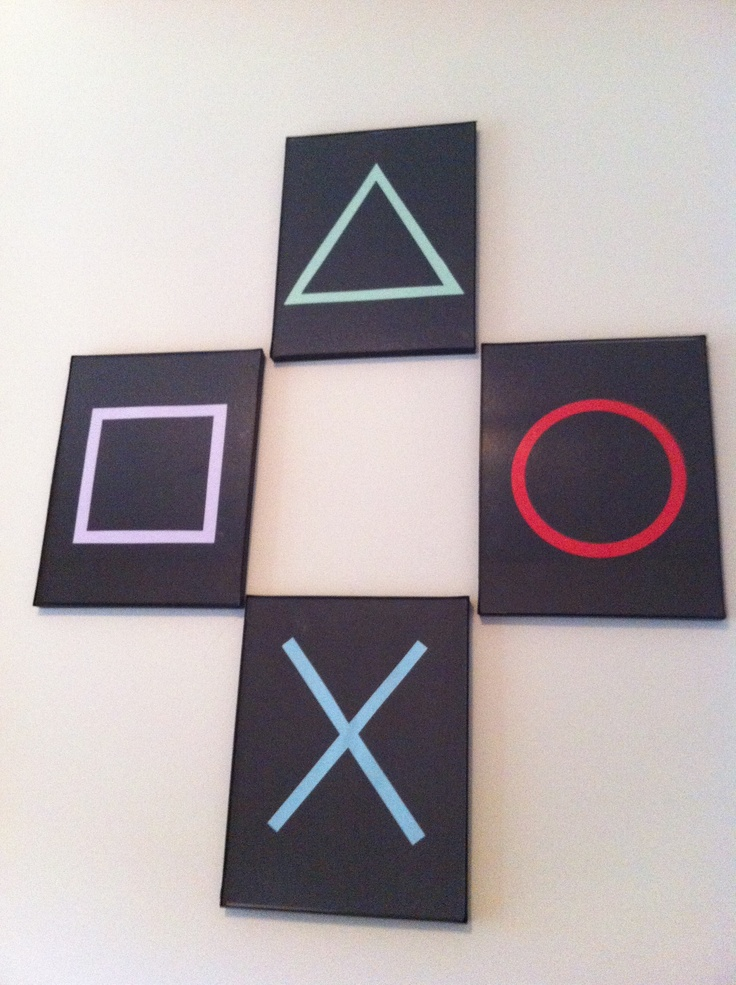 Playstation inspired wall art.  Frames from the dollar store, cardstock on hand.
