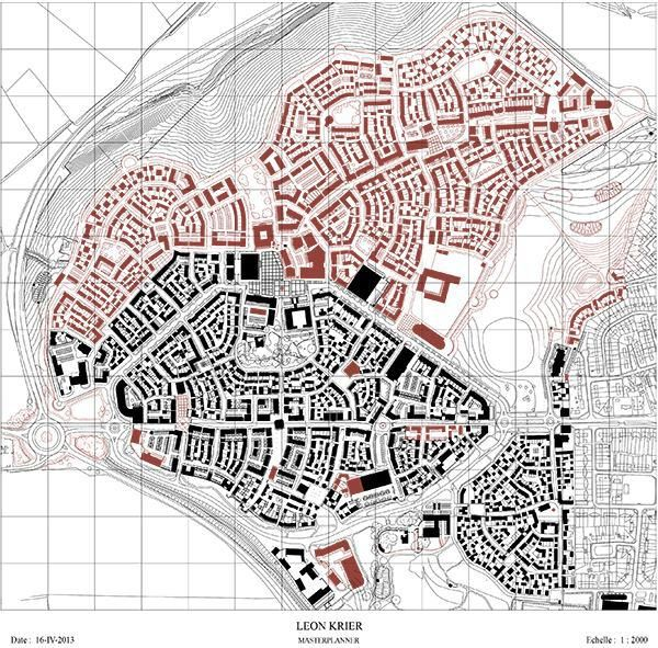 This drawing of Poundbury by Léon Krier from earlier this year shows how much of the town has been realized (black) and how much development remains before the scheduled completion date of 2025 (red).