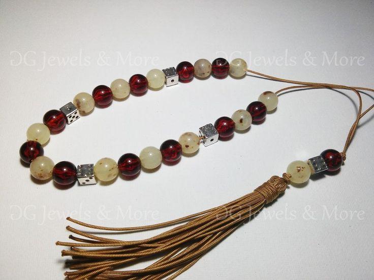 Komboloi Greek Worry beads acrylic cherry red beige brown spots 10 mm bead dice
