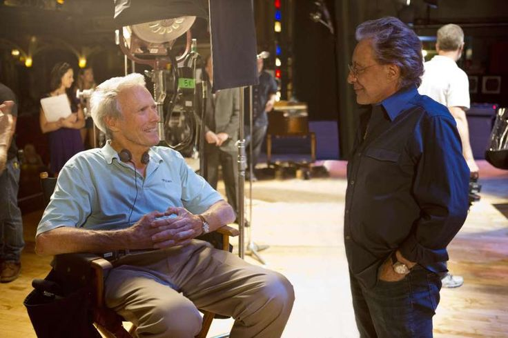 Director Clint chatting with Frankie Valli  on the set of THE JERSY BOYS.