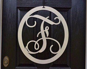 2 pc set: Metal Monogram Door Hanger w/ matching HookMetal