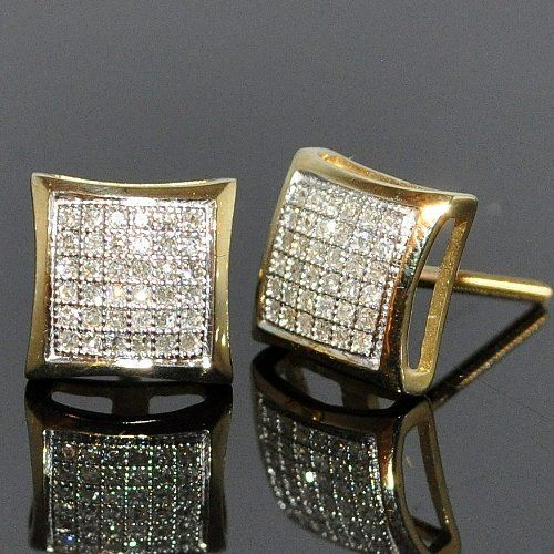 Square Diamond Stud 10k Yellow Gold Micro Pave Setting 0 20ct For Men Women Jewelry Bling Pinterest Earrings And