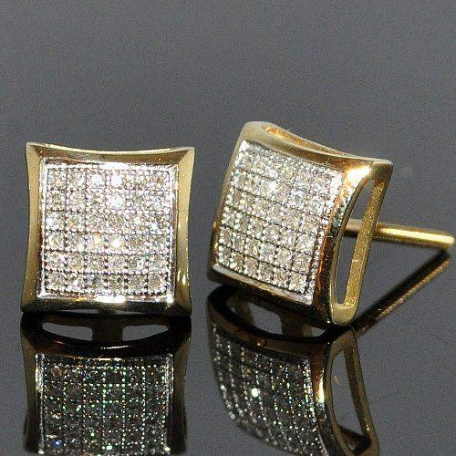 Amazon.com: square diamond stud 10k Yellow-gold Micro pave setting 0.20ct for men & women: Jewelry