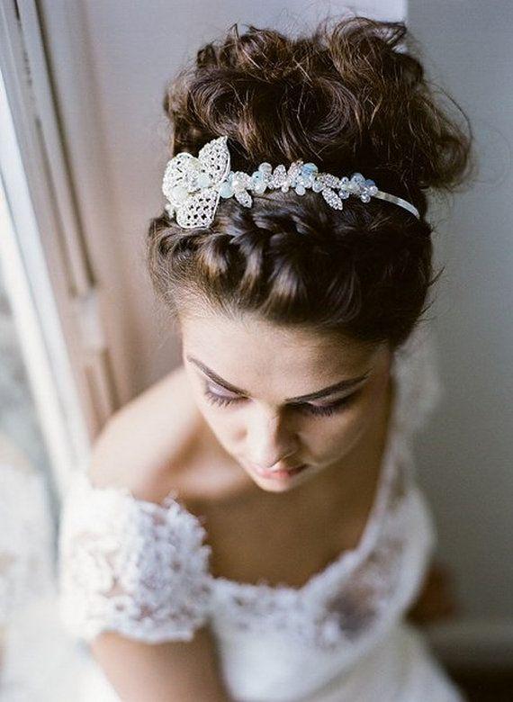 Circe - bridal headband - silver headband - Wedding Hair jewelry - vintage accessories, art deco - Gatsby - rhinestones, crystal,  pearls