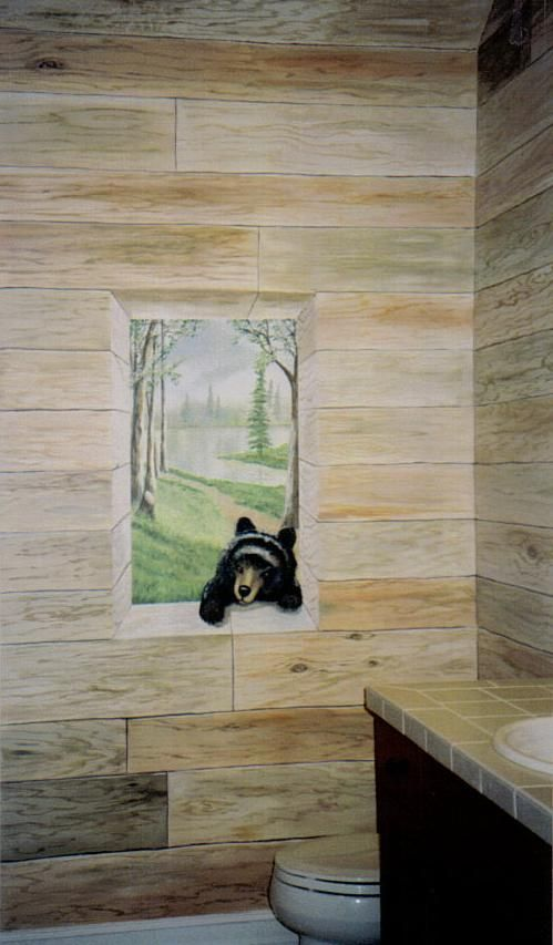 Marvelous Bath Room With, Trompe Lu0027oeil Wood And Window With Bear, By Louise