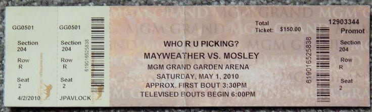 BOXING FLOYD MAYWEATHER VS SHANE MOSLEY ORIGINAL USED TICKET MAY 1 2010 RARE