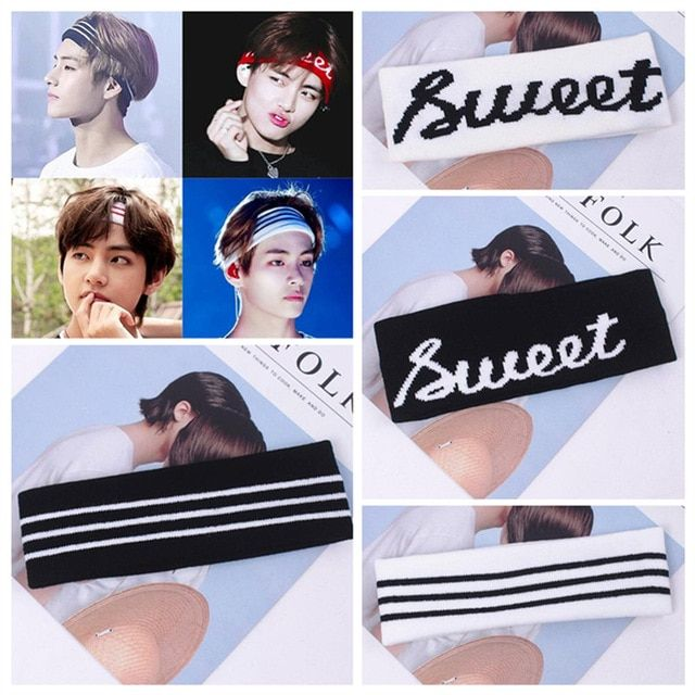 8b97a016d1f Korea Kpop BTS Fans Wide Headband Stripe Letters Large Elastic Sports Yoga Hair  Band For Women Headwear Review