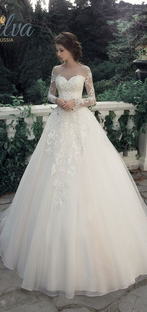 Romantic Long Sleeves Wedding Dresses,Tulle Ball Gowns.Appliques Bridal Dresses,153