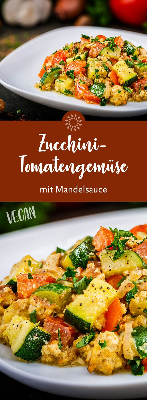 Zucchini-Tomatengemüse mit Mandelsauce