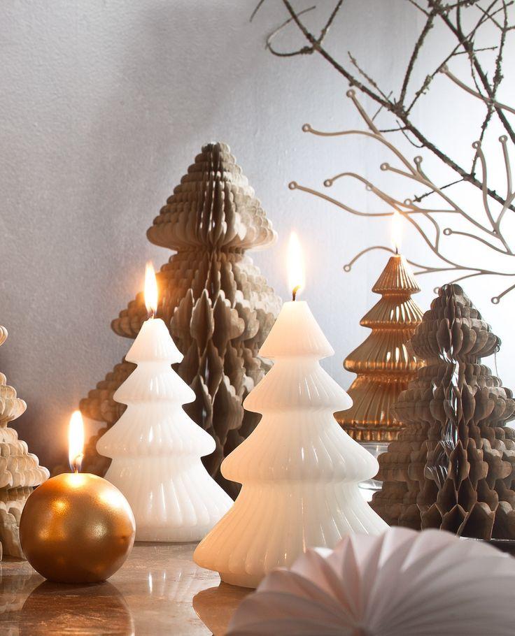 2 bougies décoratives sapin papier plié 15cm