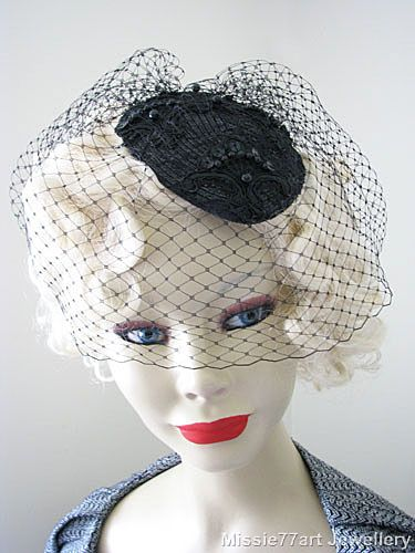 Vintage look black bird cage lace fascinator mini hat by Missie77art Jewellery ebay. Also available in white.