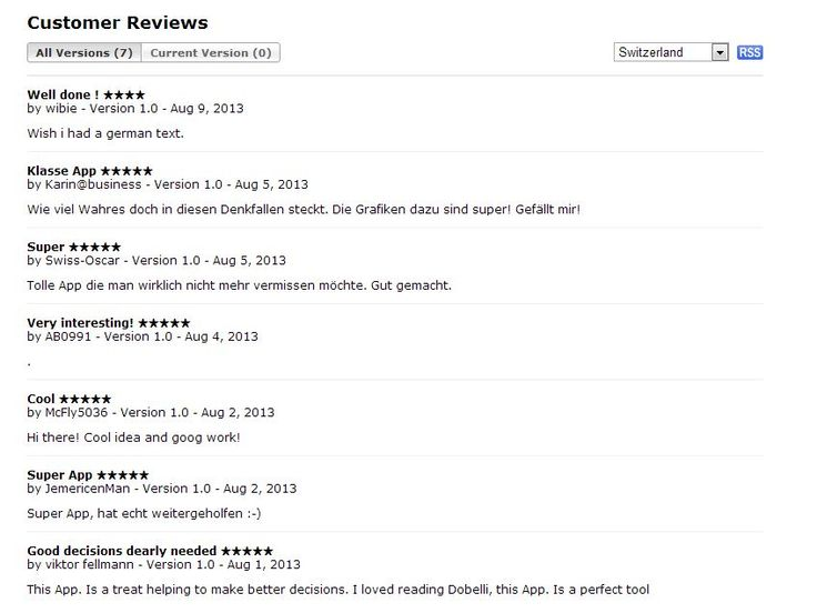 Customer reviews from iTunes