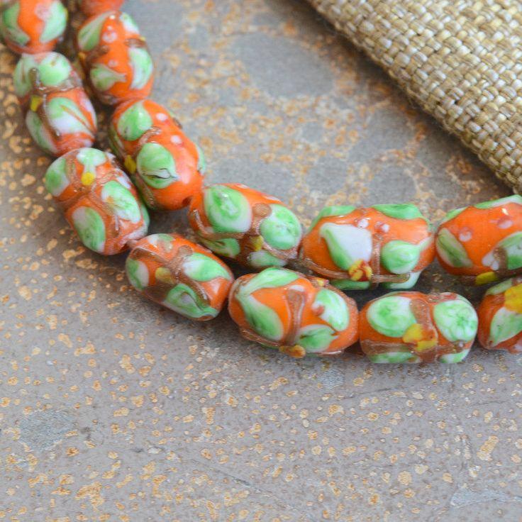 Green Glass Tube Beads, Orange Glass Tube Beads, Flower Design, Indonesian Lamp Work Glass, Lamp Glass Beads, Flower Beads, 10 beads,BB14-13