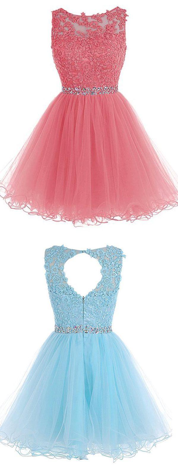 Scoop Short Blue Zipper-up Tulle Homecoming Dress