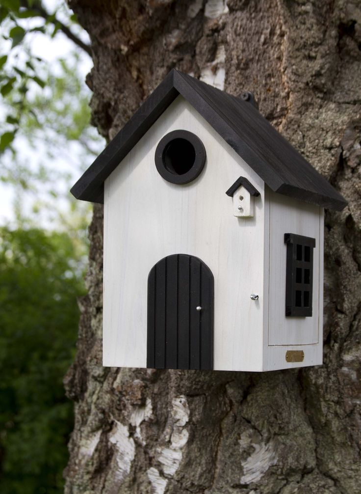 Time to put up the nest box! The birds usually inspect a nest box before selecting it as nesting place and that obviously requires some advance planning. There are also birds that want to use the nest during the winter as an overnight spot. #wildlifegarden #wildlifegardensweden #nestbox #white #nistkasten #fågelholk