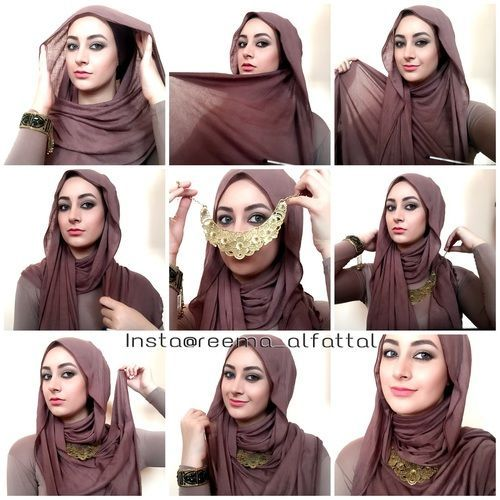 This is another way of wearing hijab with necklaces, this style is loose for summer days or for special occasions it's so comfy and would stay fixed all day long, So why not try this out for this coming Eid.… Hijab Tutorials