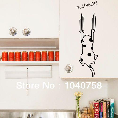 Cute Spotty Kitten Dog Refrigerator Glass Mirror Stickers for kitchen  Bathroom Home Decoration Wall Art $5.99