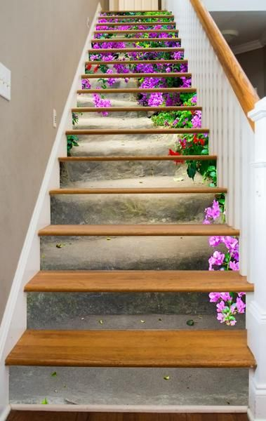 Artwork for your stairway - A cascade of violet flowers for your stairway